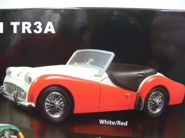 1 18 Kyosho Triumph tr3a blancoo rojo converdeible
