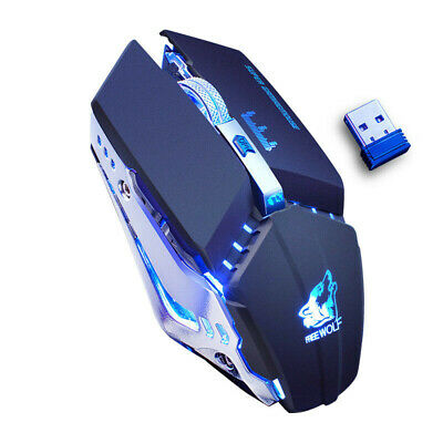 2.4G Wireless 7 Button LED Backlit Light Up Gaming Mouse 2400 DPI For Laptop PC