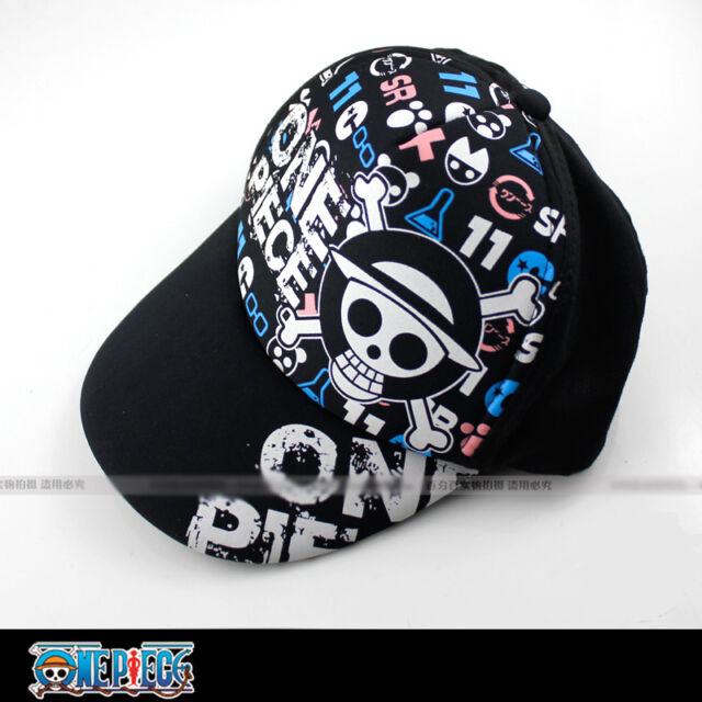 Baseball cap/hat with printings of anime One Piece Luffy's straw hat skull! cute
