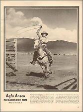 1942`Vintage ad for Agfa Ansco Plenachrome Film`Cowboy Horse (081015)