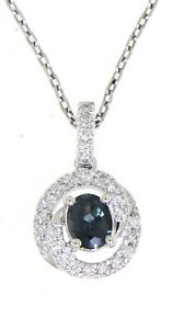 Blue-Sapphire-Oval-Gemstone-14K-White-Gold-0-69-CT-Natural-Fancy-Diamond-Pendant