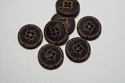 8pc 22mm Brown Mock Worn Leather Effect Coat Trouser Cardigan Kid Button 2741