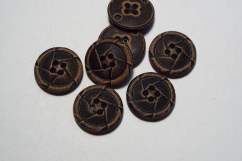 8pc 22mm Black Mock Worn Leather Effect Coat Trouser Cardigan Kid Button 2737