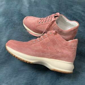 Details about Hogan Interactive Women Sneakers Pastel Pink Soft Leather Size 35 1/2