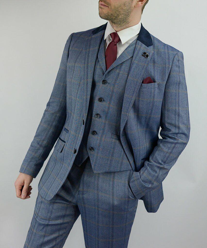 Cavani Connall Men'3 Men'3 Men'3 Piece Blau Peaky Blinders Check Tweed Suit b72