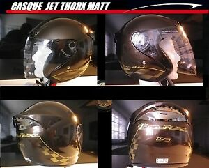 Casque-jet-Scooter-quad-moto-couleur-chocolat-et-or-Homologue-xs-Destockage