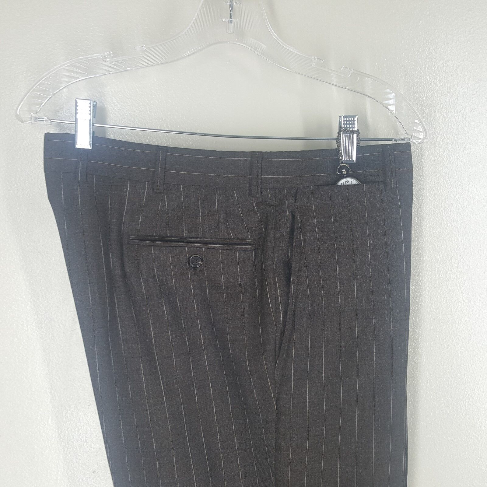 BROOKS BredHERS golden Fleece Flat Front 100%Wool Striped Dress Pants  36