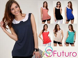 Sensible-Mujer-Blusa-Con-Cuello-Tunica-Sin-Mangas-Camiseta-Talla-8-12-8032