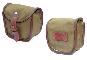 Genuine Army Surplus Pouch Canvas & Leather Strap Olive Used Soviet Bloc Vintage
