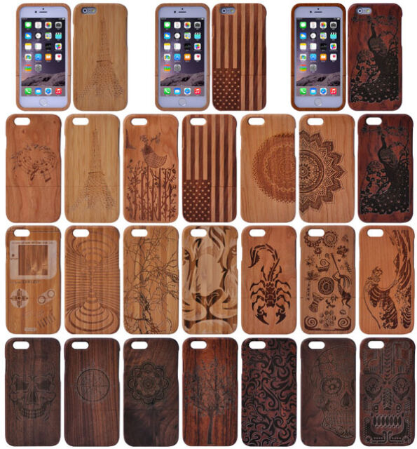 "Genuine Natural Wood Wooden Bamboo Hard Back Case Cover For 4.7"" / 5.5"" iPhone 6"