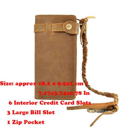Men/'s Leather Credit ID Card Holder Biker Trucker Checkbook Chain Wallet Vintage