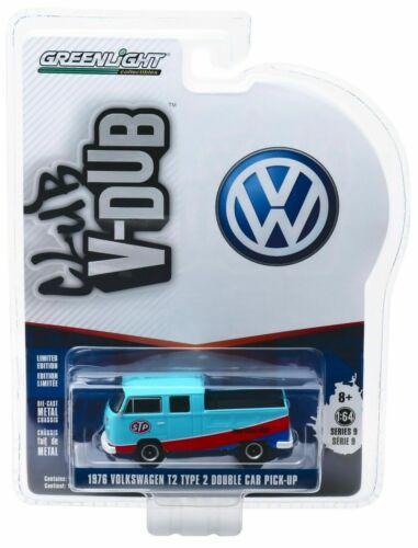1976 VW t2 Double Cab STP doka *** GreenLight V-Dub 1:64 nuevo