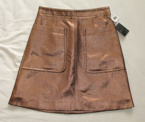 Marc-Jacobs-Women-039-s-Ladies-Gold-Skirt-Size-2-UK-6-New-With-Tags-NWT