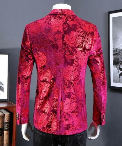 Mens Two Buttons Printed Floral Lapel Nightclub Slim Fit Blazers Coat New Jacket