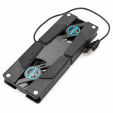 USB Foldable Folding 2 Fan Pad w/ Laptop Notebook Cooling Cooler Cool Pad Black✼