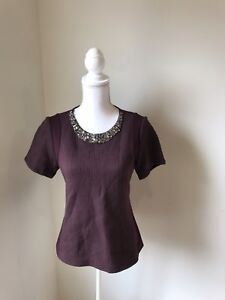 Rebecca-Taylor-Top-Blouse-Burgundy-Wine-Rhinestones-Women-039-s-Size-6-Embellished