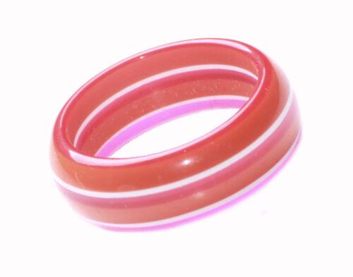 Naranja Rojo y Blanco a Rayas 19mm años 80 Anillo de mano Splash De Color-Rosa Zx213