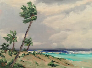 BRIGHT SPOT Original Expression Seascape Surf Palms Painting 12x16 030719 KEN
