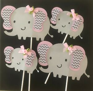 Details About Elephant Centerpieces Stick Light Pink And Gray Elephant Elephant Baby Shower