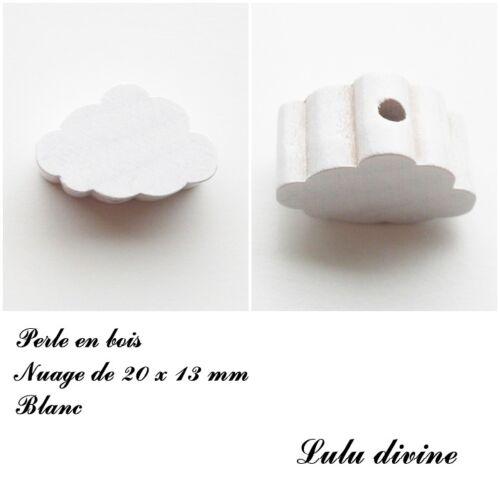 Perle plate petit Nuage Perle en bois de 20 x 13 mm Blanc