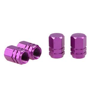 4X-Car-Bike-Auto-Wheel-Rims-Tire-Tyre-Air-Valve-Stem-Caps-Cover-Purple-Universal