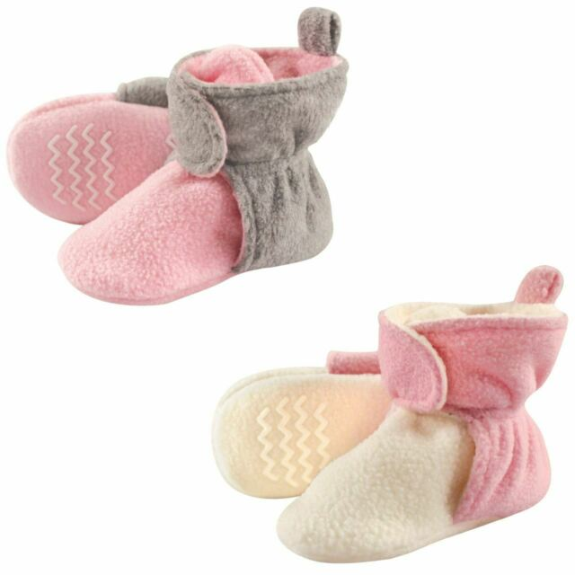 Hudson Baby Baby Fleece Lined Scooties with Non Skid Bottom, 2-Pack, Pink and Cr