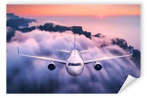 Postereck-Poster-2976-Flugzeug-fliegen-Urlaub-Wolke-Meer-Sonne-Berge-Sommer