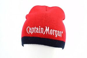 Captain Morgan Beanie Hat Knit Cap Red Embroidered Spell Out OneSize Unisex