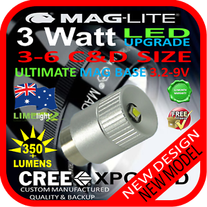MAGLITE-LED-UPGRADE-3-6C-D-CREE-3W-BULB-GLOBE-for-TORCH-FLASHLIGHT-3-2-9V-350-lm