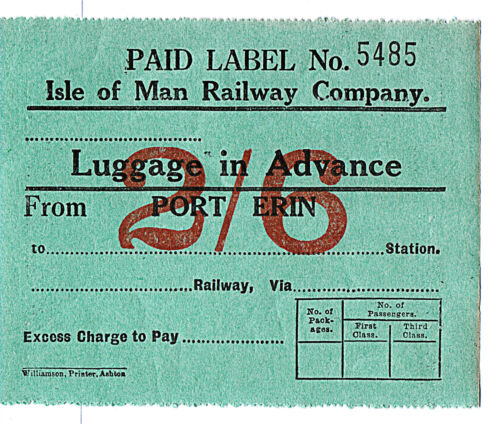 IMR Isle of Man Railway Carted /& Passengers Luggage in Advance adhesive stamps