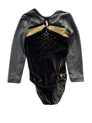 GK Elite Black Velvet//Gold Gymnastics Leotard AS Adult Small 3930