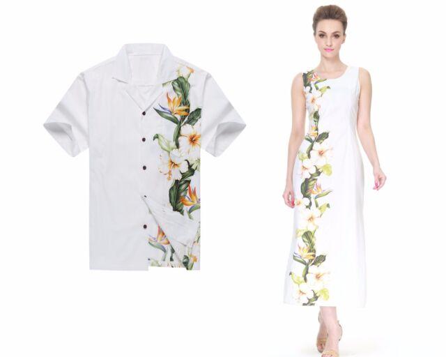 2ed321b8ff Made Hawaii Couple Matching Luau Maxi Elegant Shirt and Dress Side Floral  White