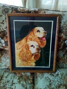 Cocker Spaniel  Cavalier Acrylic Original Painting vintage /& signed!