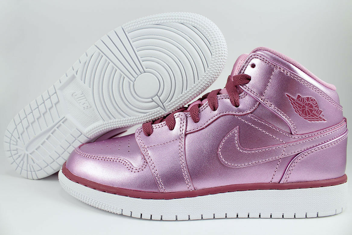 NIKE AIR JORDAN 1 MID METALLIC PINK RED PURPLE RETRO HIGH WOMEN GIRLS YOUTH SIZE