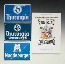 Set 3 x Emailschilder Versicherung + Katalog Versicherungsschilder 1900-1960
