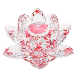 Crystal-Lotus-Flower-Buddhist-Ornament-Feng-Shui-Art-Glass-Paperweight-Red