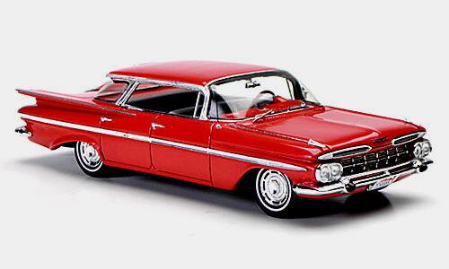 Wonderful modelcar Chevrolet Impala SEDAN 4-WINDOWS 1959 - rosso    - 1/43 50cf14