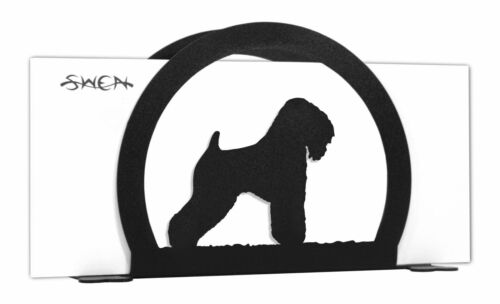 SWEN Products WHEATEN TERRIER Dog Black Metal Letter Napkin Card Holder