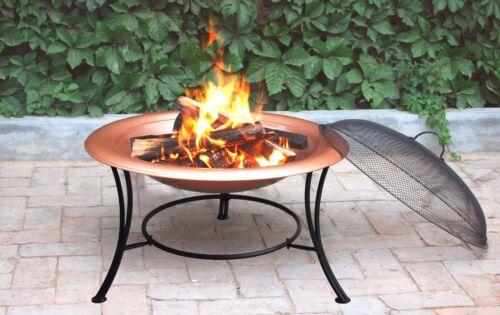 "Guard /& Poker 30/""//76cm Diameter Sturdy Copper Fire Pit For Charcoal /& Logs"
