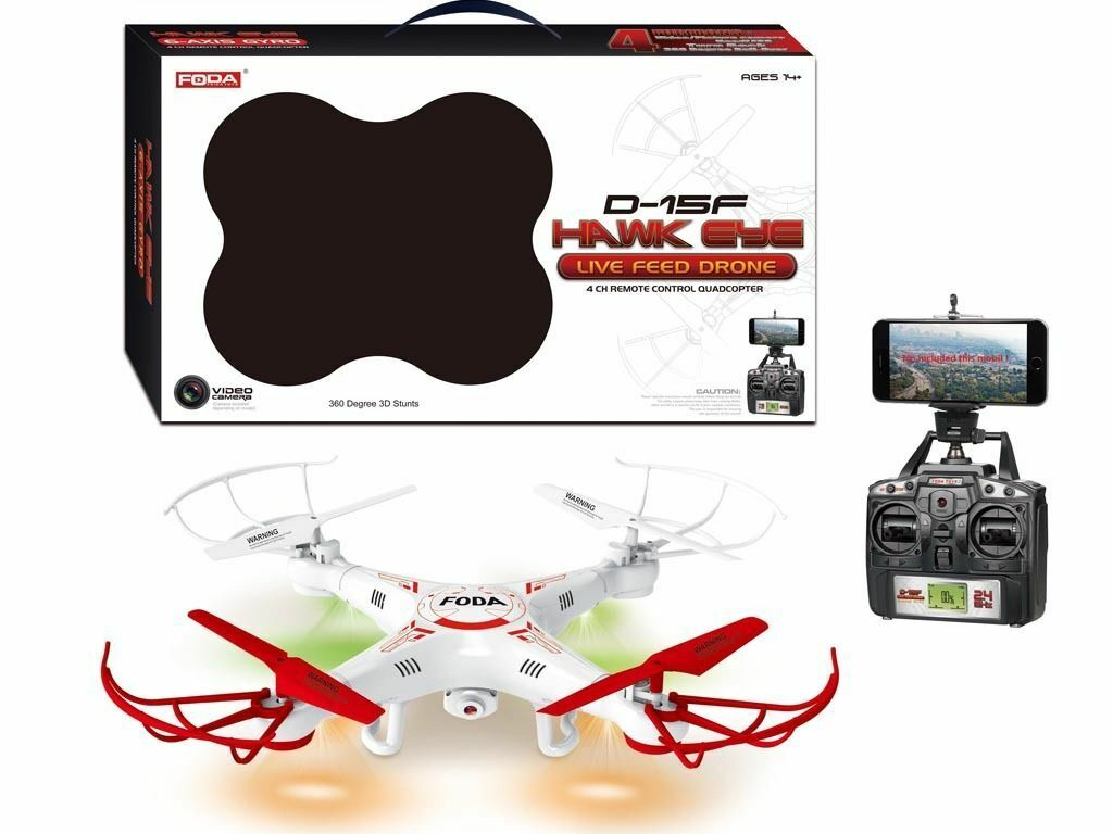 D-15f  Live feed Drone 1080p 4ch remote control quad copter 360 degree 3D stunts