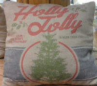 Christmas Tree -holly Jolly Throw Pillow -primitive By Kathy-2 Sided