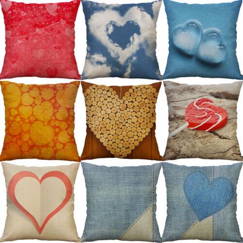 18/'/' Heart Linen Cotton Throw Pillow Case Sofa car Cushion Cover Home Decor