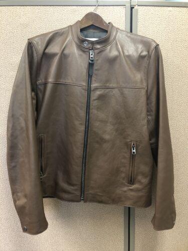 Coach F87432 Lamb Leather Racer Jacket L Brown Men