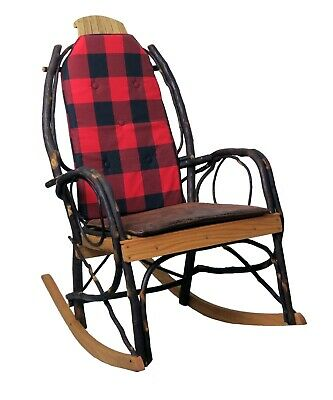 Amish Hickory Rocking Chair Pad Cushion Set in Red Diamond Fabric
