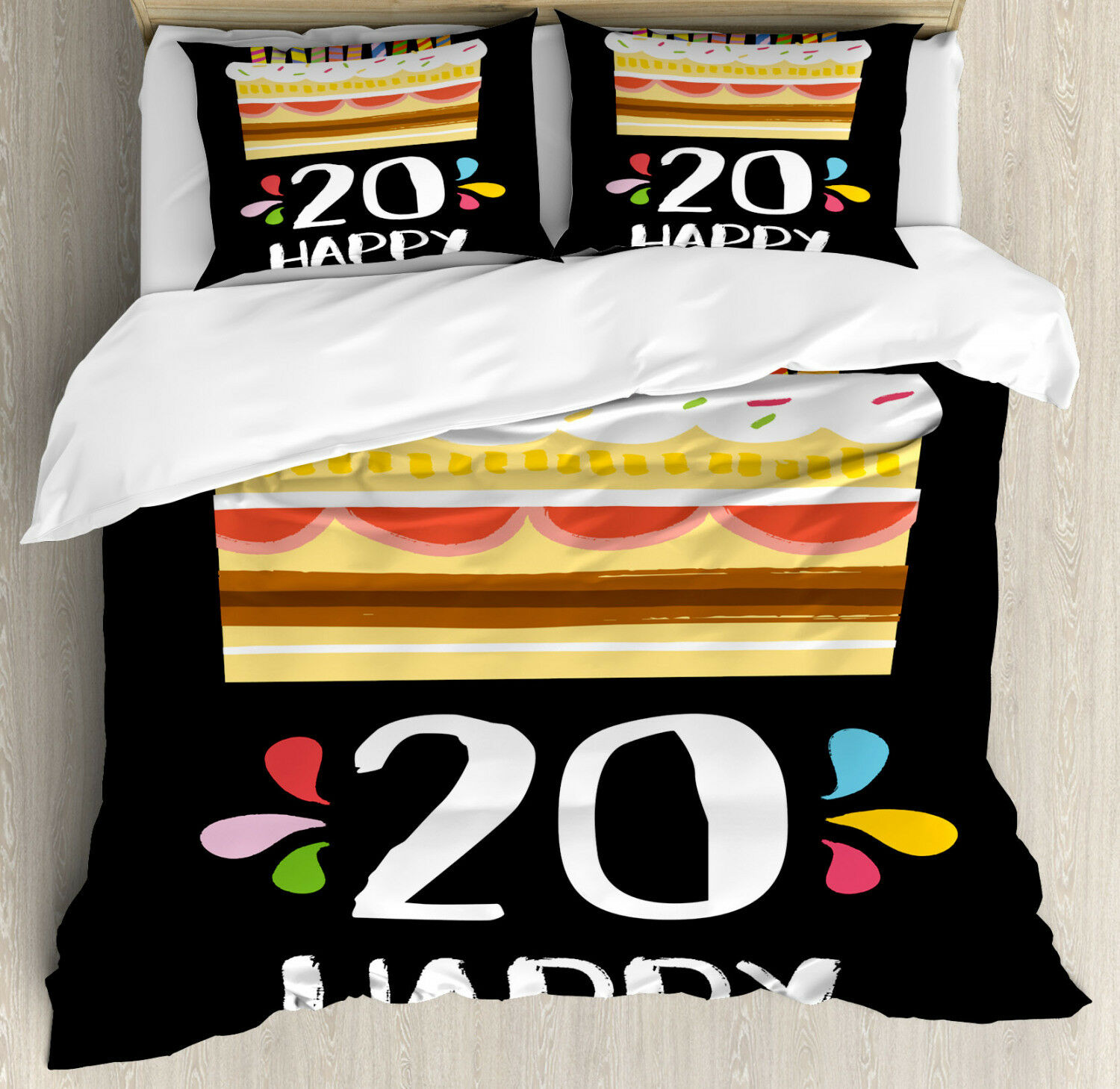 Vintage Duvet Cover Set with Pillow Shams Party Cake Candles Print