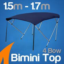 4 Bow 1.5-1.7m Blue Boat Bimini Top Canopy Cover w/ Rear Poles & Sock