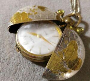 Vintage-MEDANA-Xtensa-Pendant-Pocket-Watch-Manual-Wind-Globe-Chain-Necklace