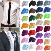 New Fashion Mens Slim Skinny Solid Color Plain Satin Tie Necktie Wedding Ties XN