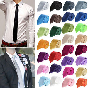 Men-039-s-Tie-Skinny-Shiny-Solid-Color-Plain-Silk-Necktie-Formal-Party-Wedding-Hot