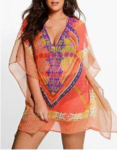 Floral-Sheer-Embroidered-Kaftan-Digital-Printed-Size-14-16-Free-Post-AUS